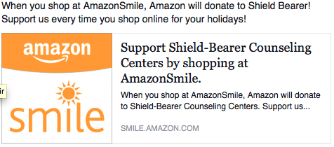 Amazon Smile Donates to Shield Bearer